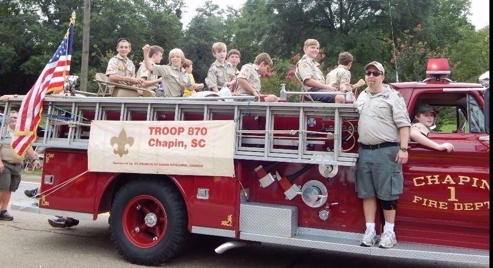 Photo of Boy Scout Troop 870 on Chapin Fire Truck