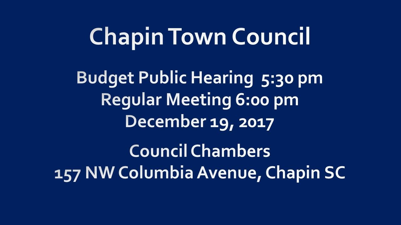 Chapin Town Council Public Hearing & Meeting on Dec 19 beginning at 5:30 pm