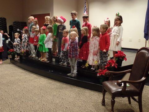 Photo of children singing at Christmas party