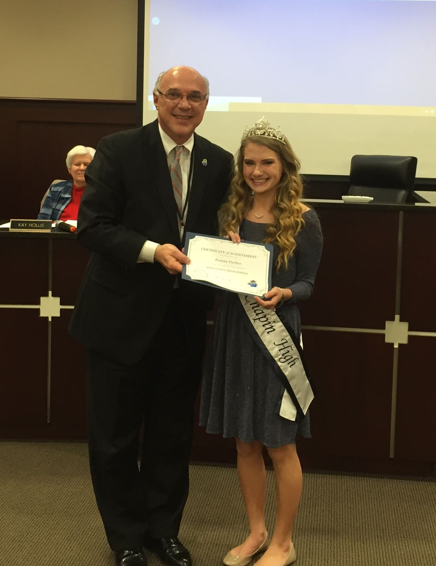 Mayor Wilson with Joanna Dyches, Miss Chapin High